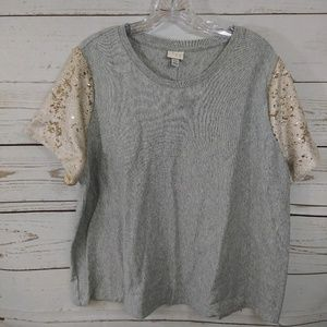 A New Day Top Short Sleeve Mermaid Sequins B78